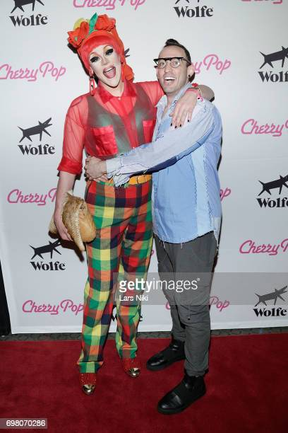 Performers Thorgy Thor and Acid Betty attend the Cherry Pop Premiere at OutCinema Presented by NewFest and NYC Pride at SVA Theater on June 19 2017...