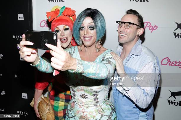 Performers Thorgy Thor Tempest Dujour and Acid Betty attend the Cherry Pop Premiere at OutCinema Presented by NewFest and NYC Pride at SVA Theater on...