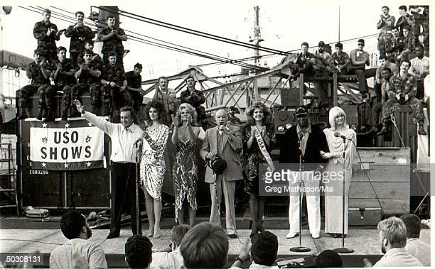 USO performers Vic Damone Brook Shields Cathy Lee Crosby Bob Hope Miss USA George Kirby and Ann Jillian entertaining US troops at Christmas time...
