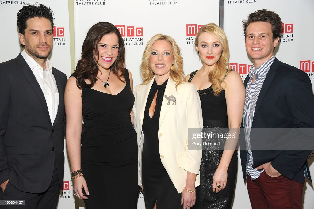 Performers Will Swenson, Lindsay Mendez, <a gi-track='captionPersonalityLinkClicked' href=/galleries/search?phrase=Sherie+Rene+Scott&family=editorial&specificpeople=214727 ng-click='$event.stopPropagation()'>Sherie Rene Scott</a>, Betsy Wolfe and <a gi-track='captionPersonalityLinkClicked' href=/galleries/search?phrase=Jonathan+Groff+-+Actor&family=editorial&specificpeople=2994250 ng-click='$event.stopPropagation()'>Jonathan Groff</a> attend the 2012 Manhattan Theatre Club Benefit: An Intimate Night at Jazz at Lincoln Center on January 28, 2013 in New York City.