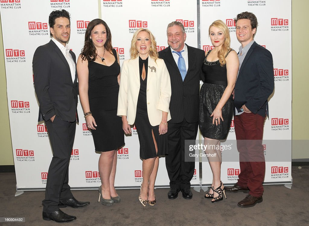 Performers Will Swenson, Lindsay Mendez, Sherie Rene Scott, director Michael Bush,performers Betsy Wolfe and Jonathan Groff attend the 2012 Manhattan Theatre Club Benefit: An Intimate Night at Jazz at Lincoln Center on January 28, 2013 in New York City.