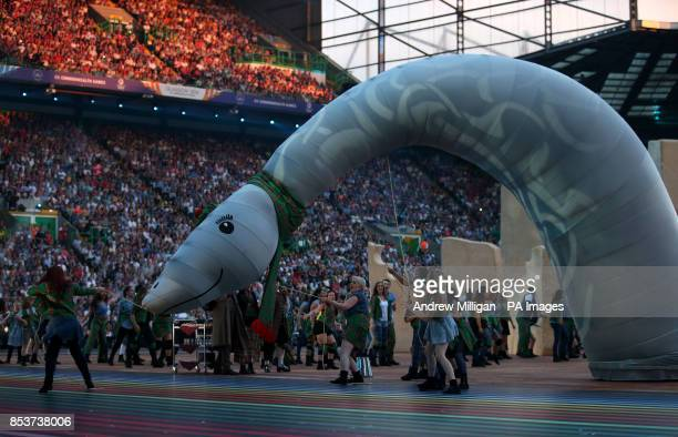 Performers with the Loch Ness monster during the 2014 Commonwealth Games Opening Ceremony at Celtic Park Glasgow