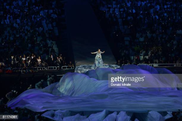 Performing artist Bjork sings during the opening ceremony of the Athens 2004 Summer Olympic Games on August 13 2004 at the Sports Complex Olympic...