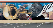 Performing Arts mural by Randy Spicer featuring jazz immortal Louis Armstrong Eureka California
