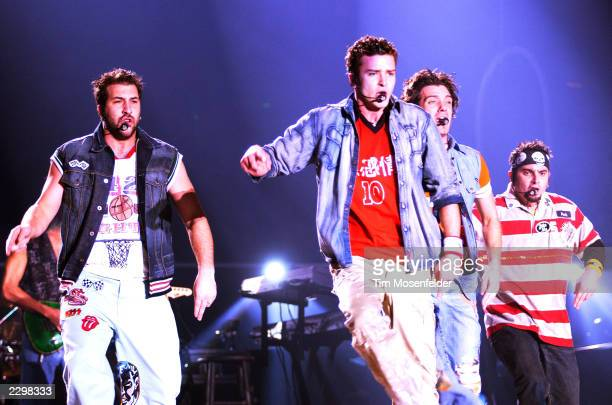 'NSYNC performing at the Compaq Center in San Jose Calif on March 8th 2002 Image By Tim Mosenfelder/ImageDirect