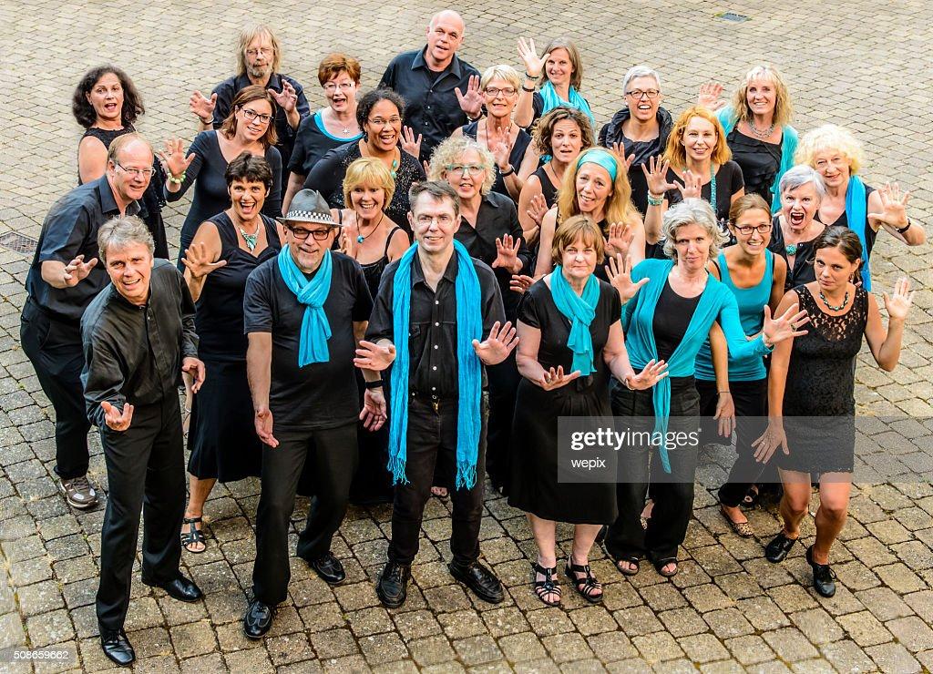Performing Group Happy People Men Women Black White Blue Choir : Stock Photo