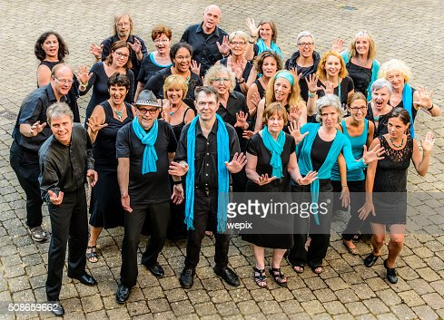 Performing Group Happy People Men Women Black White Blue Choir : Stock Photo