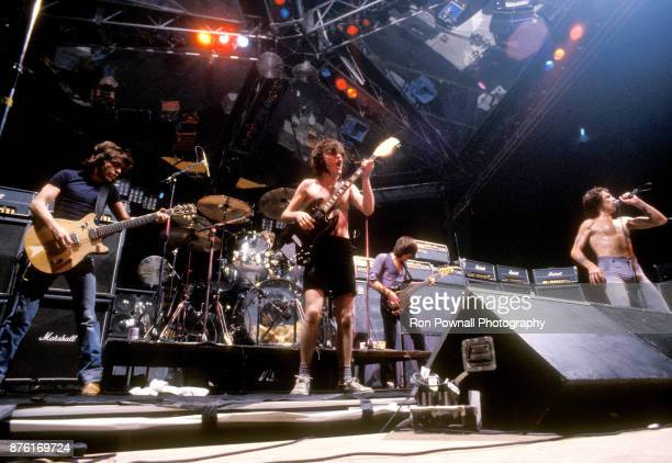 AC/DC performs at the Orpheum Theater in Boston Massachusetts October 9 1978 Malcolm Young Phil Rudd Angus Young Cliff Williams Bon Scott