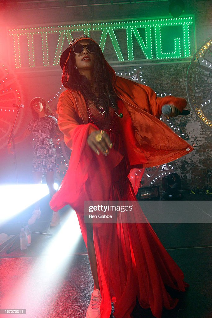 A. performs at the Soho House Satellite Nights series with M.I.A. on November 5, 2013 in Brooklyn, New York.