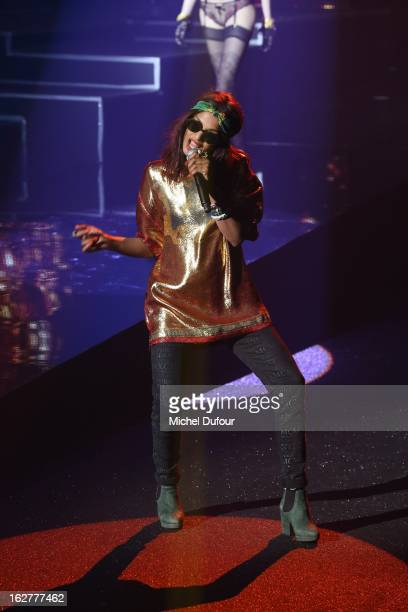 A performs during the Etam Live Show Lingerie at Bourse du Commerce on February 26 2013 in Paris France