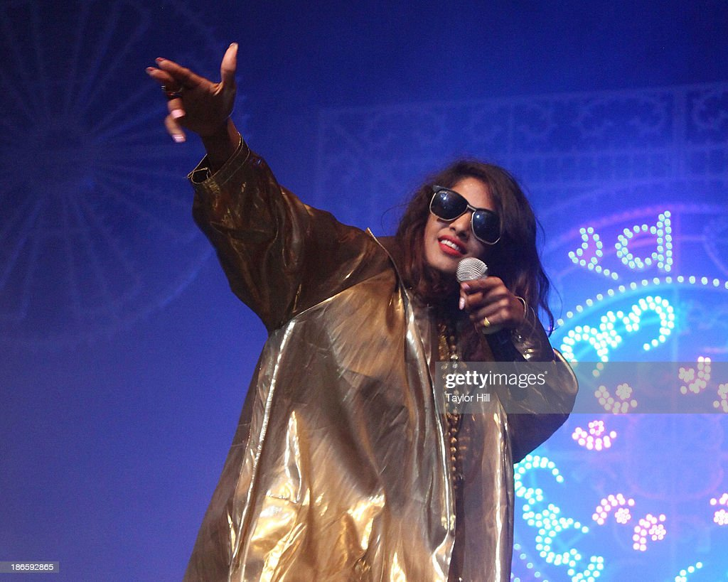 A. performs in celebration of her new album 'Matangi' at Terminal 5 on November 1, 2013 in New York City.