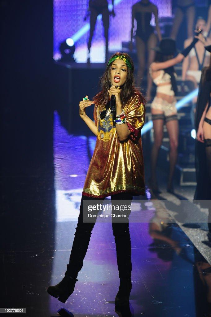 A. performs live during the Etam Live Show Lingerie at Bourse du Commerce on February 26, 2013 in Paris, France.