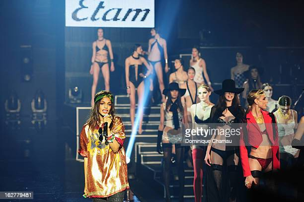 A performs live during the Etam Live Show Lingerie at Bourse du Commerce on February 26 2013 in Paris France