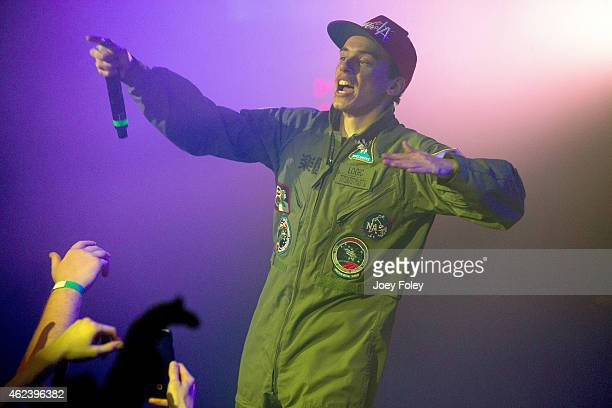 LOGIC performs live onstage during the opening date of the Under Pressure World Tour Presented By Monster Energy Outbreak at The Emerson Theater on...