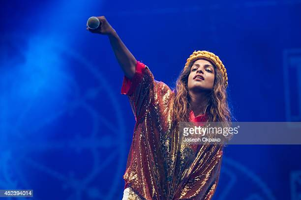 A performs on stage at Lovebox 2014 at Victoria Park on July 19 2014 in London United Kingdom