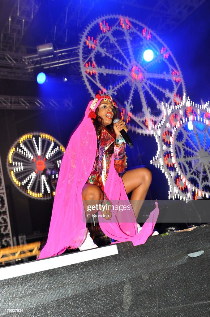 M.I.A. performs on stage during Day 1 of Bestival 2013 at Robin Hill Country Park on September 5, 2013 in Newport, Isle of Wight.