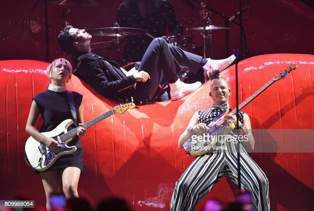 DNCE performs on stage during Univision's 'Premios Juventud' 2017 Celebrates The Hottest Musical Artists And Young Latinos ChangeMakers at Watsco...