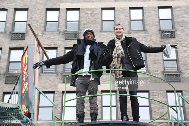 MKTO performs on the Nickelodeon's Teenage Mutant Ninja Turtles float at the 88th Annual Macy's Thanksgiving Day Parade on November 27 2014 in New...