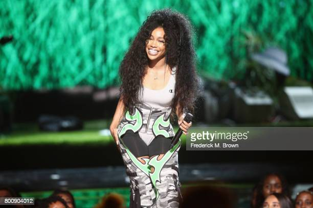 SZA performs onstage at 2017 BET Awards at Microsoft Theater on June 25 2017 in Los Angeles California