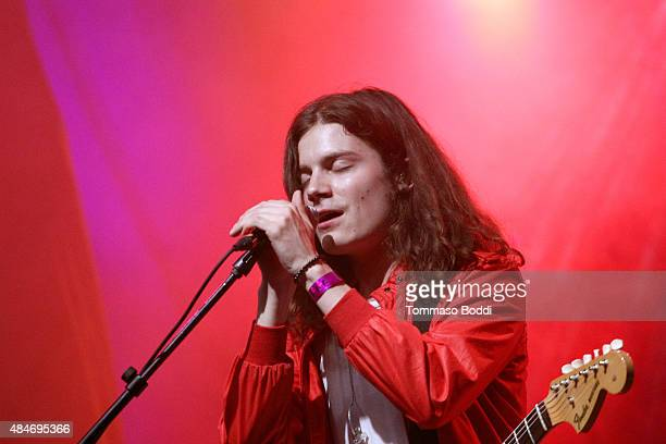 BORNS performs onstage at American Express UNSTAGED Artists in Residence Concert with BORNS Gavin James Pia Mia and Rae Sremmurd at El Rey Theatre on...