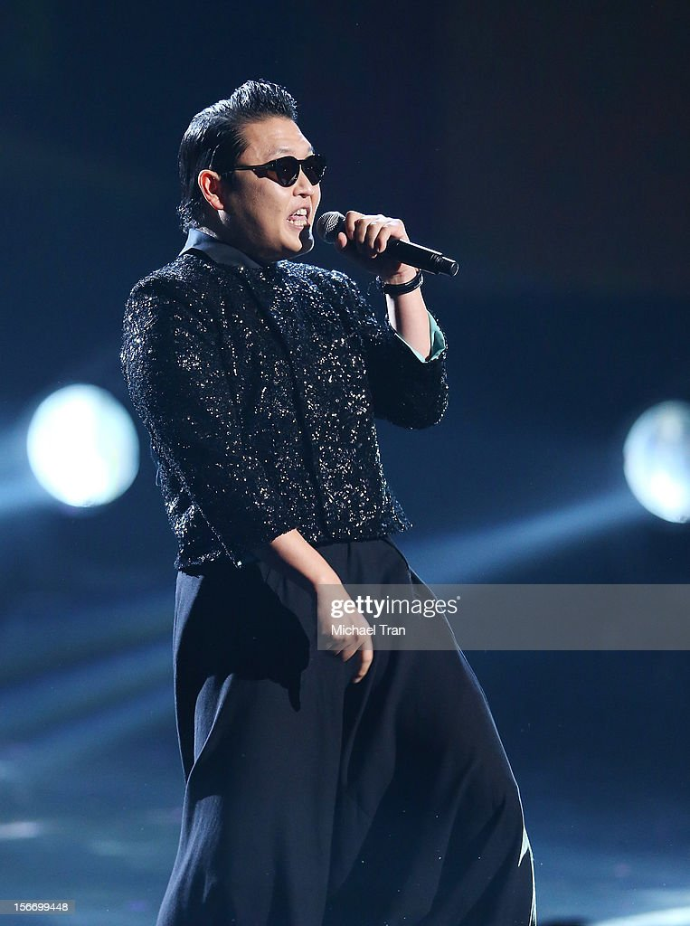 PSY performs onstage at The 40th American Music Awards held at Nokia Theatre L.A. Live on November 18, 2012 in Los Angeles, California.