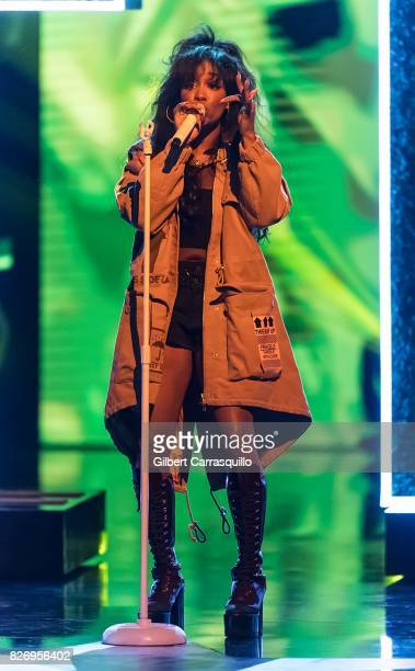 SZA performs onstage during Black Girls Rock 2017 at New Jersey Performing Arts Center on August 5 2017 in Newark New Jersey