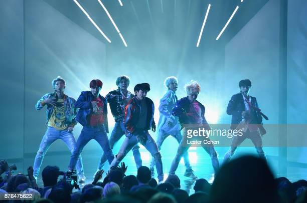 BTS performs onstage during the 2017 American Music Awards at Microsoft Theater on November 19 2017 in Los Angeles California