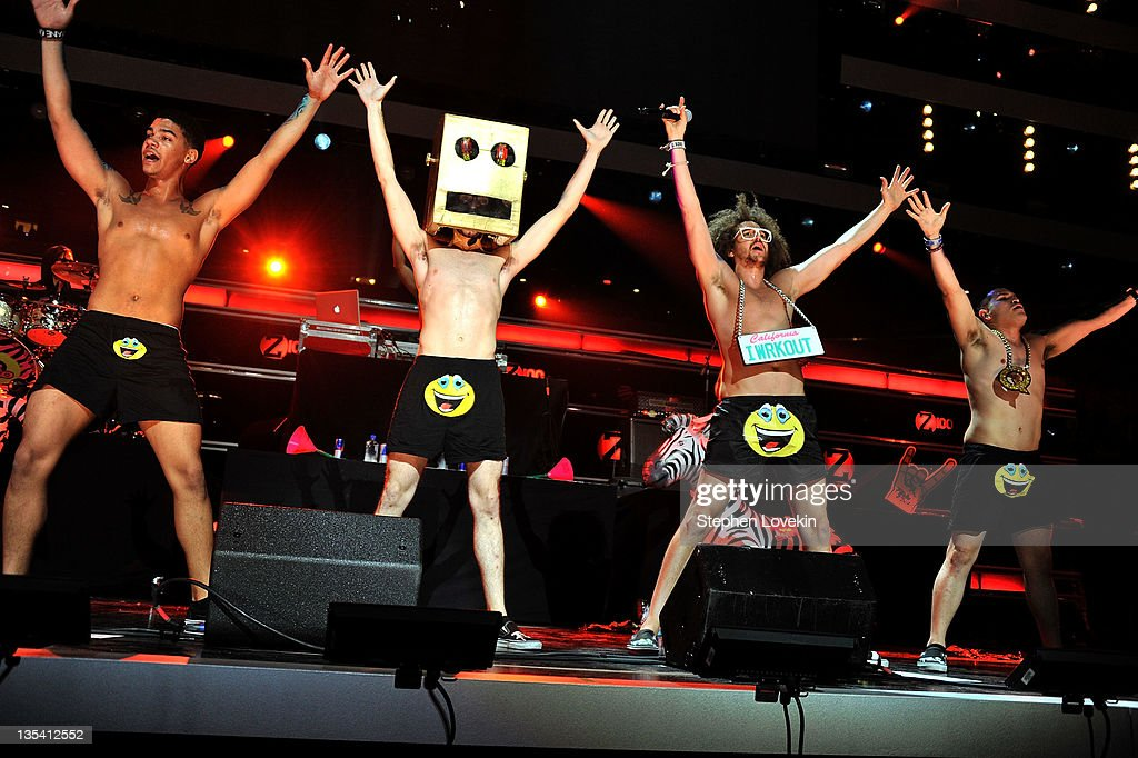 LMFAO performs onstage during Z100's Jingle Ball 2011 presented by Aeropostale at Madison Square Garden on December 9 2011 in New York City