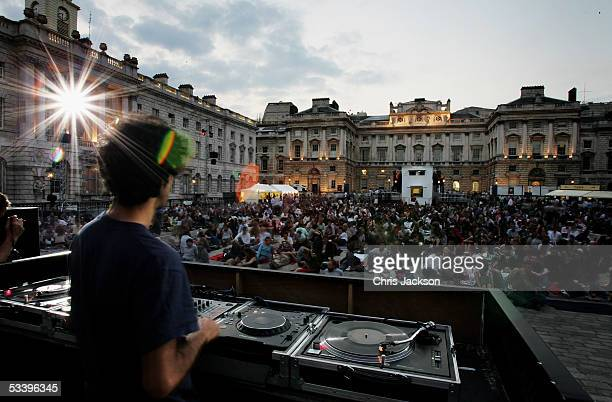 DJ performs to the crowd as FilmFour and Somerset House present their first annual movie season of outdoor screenings starting with this evenings...
