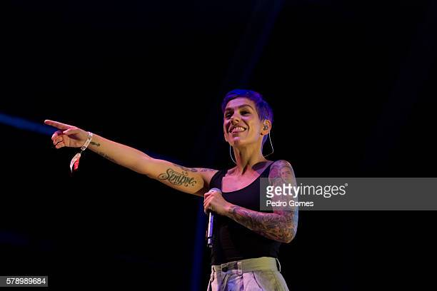 M7 performs with Capicua on the EDP stage at Super Bock Super Rock festival on July 16 2016 in Lisbon Portugal