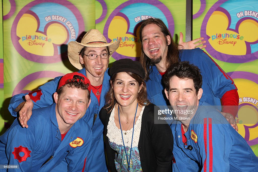 Perfromers David Poche, Scott Smit, Actress <a gi-track='captionPersonalityLinkClicked' href=/galleries/search?phrase=Nia+Vardalos&family=editorial&specificpeople=201549 ng-click='$event.stopPropagation()'>Nia Vardalos</a>, Scott Durbin and Rich Collins with Disney's Imagination Movers in Los Angeles during their first ever US concert tour at Club Nokia on December 5, 2009 in Los Angeles, California.