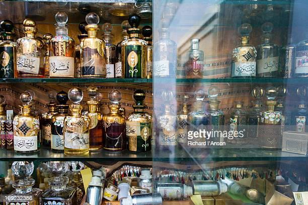 Perfume bottles displayed at shop in Medina