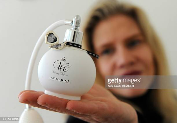 Perfume creator Kim Weisswange presents a flacon with the wedding perfume for Kate Middleton on April 5 2011 in Hamburg northern Germany Weisswange...