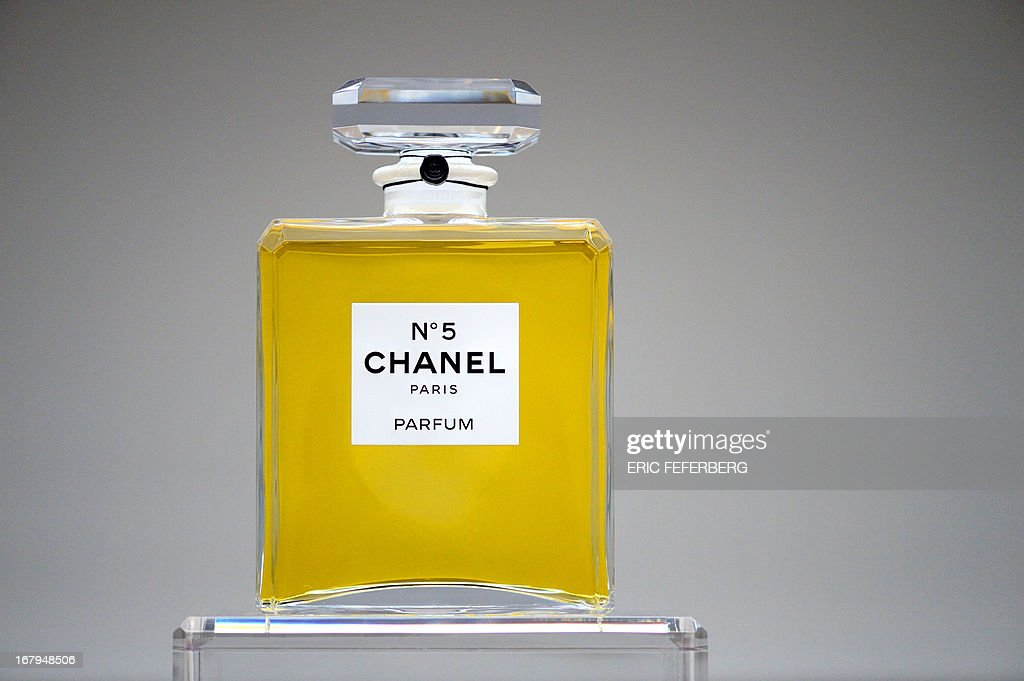 A perfume flask of 'Chanel N°5' is displayed at Tokyo palace exhibition on May 3, 2013 in Paris.
