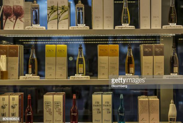 Perfume is displayed for sale at a Natura Cosmeticos SA store inside the Santos Dumont Airport in Rio de Janeiro Brazil on Monday June 25 2017...