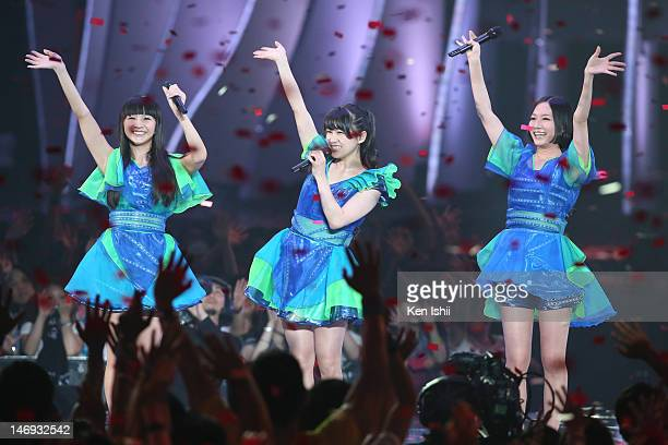 perfume performs onstage during the MTV Video Music Awards Japan 2012 at Makuhari Messe on June 23 2012 in Chiba Japan