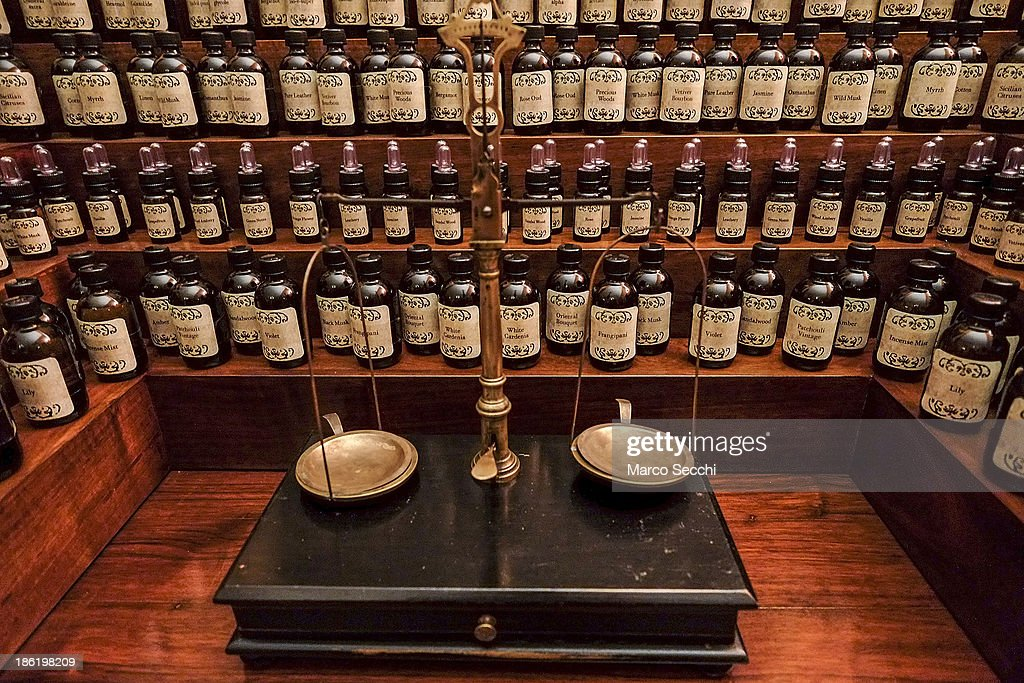 A perfumer desk with several essences and oils on display at the perfume exhibition on October 29, 2013 in Venice, Italy. The new perfume section at the Venetian Museum of eighteenth-century lifestyle Palazzo Mocenigo will open on the 1st of November.