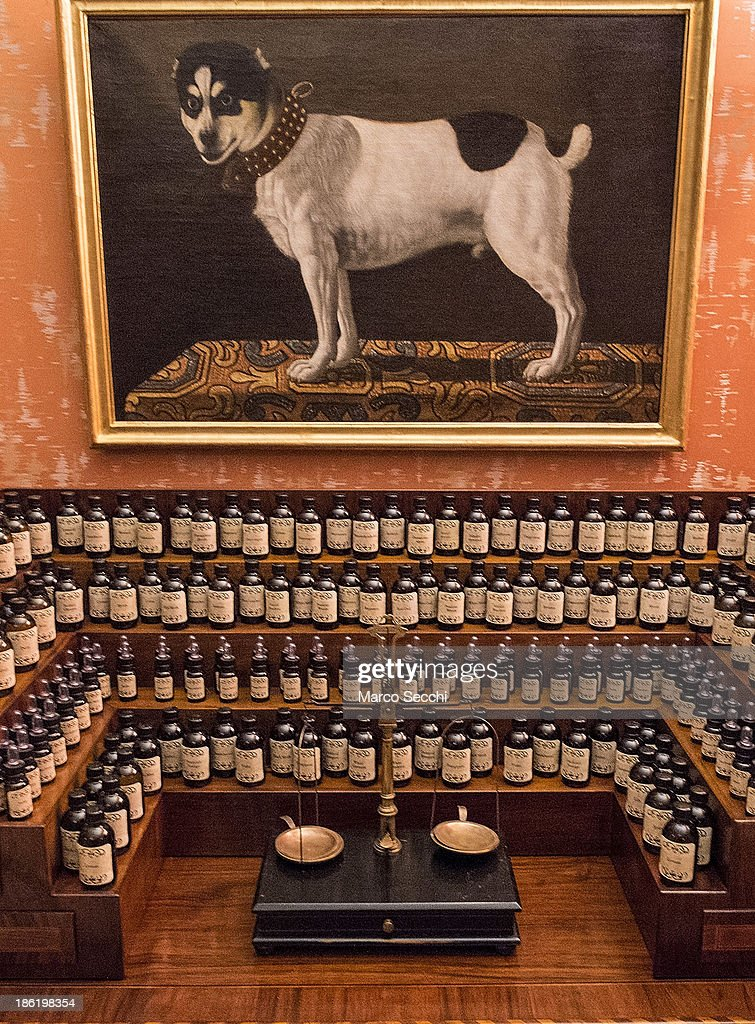A perfumer desk with several essences and oils on display during the press preview of the perfume exhibition on October 29, 2013 in Venice, Italy. The new perfume section at the Venetian Museum of eighteenth-century lifestyle Palazzo Mocenigo will open on the 1st of November.