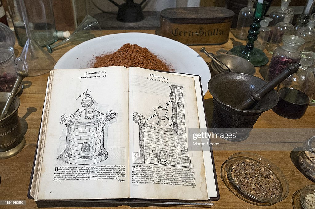A perfumery book on display during the press preview of the perfume exhibition on October 29, 2013 in Venice, Italy. The new perfume section at the Venetian Museum of eighteenth-century lifestyle Palazzo Mocenigo will open on the 1st of November.