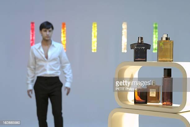 Perfumes For Men Les parfums pour hommes photo studio des flacons de parfum RYKIEL HOMME GREY de Sonia RYKIEL MEMOIRE D'HOMME de Nina RICCI M7 d'Yves...