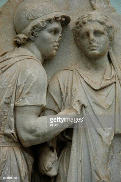 Pergamon Altar 164156 BC Telephos Frieze Detail Telephos receiving weapons from Auge Pergamon Museum Berlin Germany