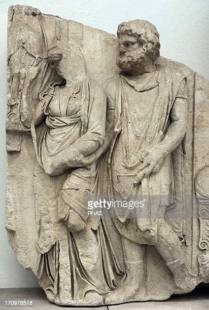 Pergamon Altar 164156 BC Telephos Frieze Detail Teuthras gives Auge to Telephus in marriage Pergamon Museum Berlin Germany