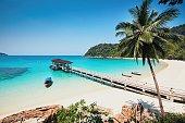 Sunny day on the idyllic beach. Perhentian Islands in Malaysia.