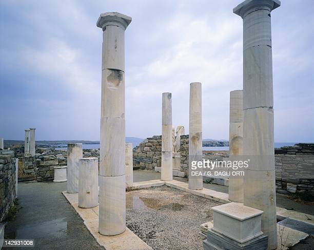 Peristyle of the House of Cleopatra in Delos Cyclades Islands Greece Greek civilization 2nd Century BC