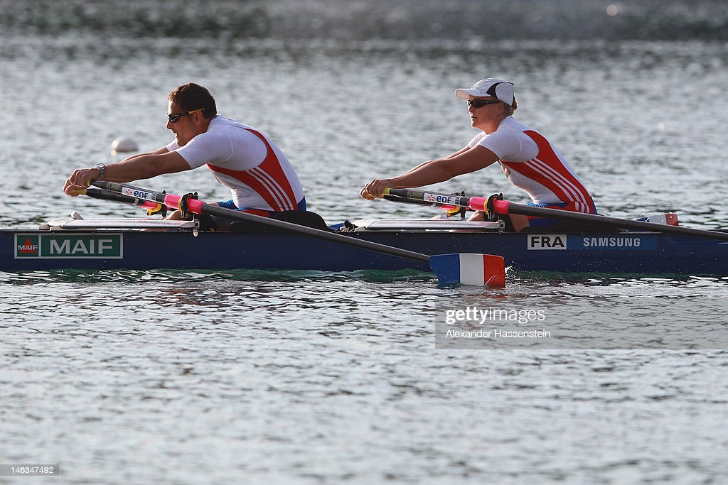 Perle Bouge of France competes with Stephane Tardieu in the Adaptive Events Mixed Double Sculls heat during the 2012 Samsung World Rowing Cup III at the Ruderregattastrecke on June 14, 2012 in Munich, Germany.