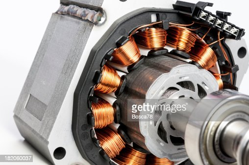 permanent magnet motor disassembled closeup stock photo