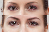 Japanese technique of drawing eyebrows, before and after