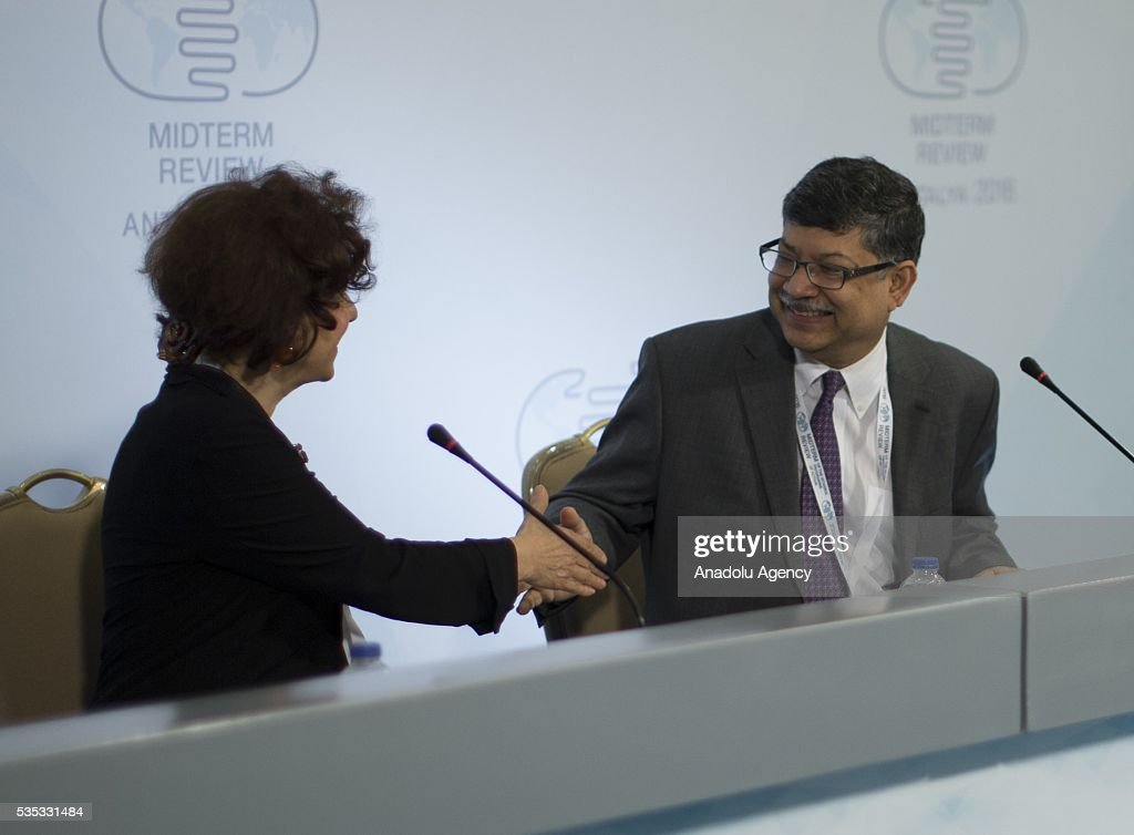 Permanent Representative of Bangladesh to the United Nations, Masud Bin Momen and Turkish Foreign Ministry Deputy Secretary Ayse Sinirlioglu (L) hold a joint press conference after the Midterm Review of the Istanbul Programme of Action for the Least Developed Countries in Antalya, Turkey on May 29, 2016.