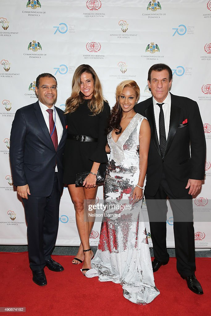 Permanent Representative of the Commonwealth of Dominica, H.E. Vince Henderson, Kelly Bensimon, Olivia and Robert Davi attend a reception gala for the 70th Anniversary of the United Nations and the Post-2015 Development Agenda at United Nations on September 29, 2015 in New York City.