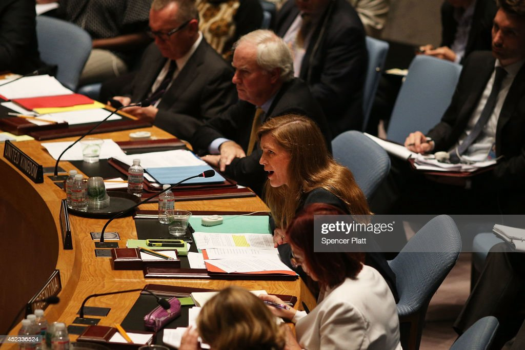 S Permanent Representative to the United Nations Samantha Power speaks at an emergency session of the United Nations Security Council to discuss the...